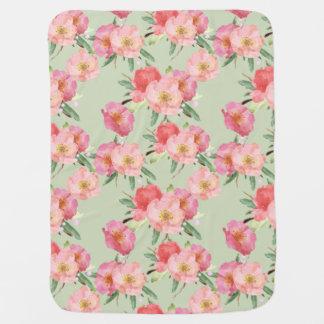 Pretty Pink Garden Flowers Watercolor Swaddle Blanket