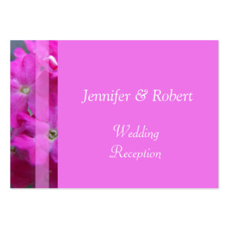 Pretty pink garden flowers wedding reception business card templates