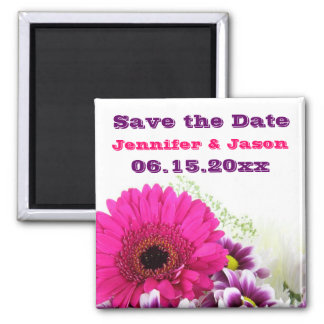Pretty Pink Gerber Daisy and Purple Wedding Set 2 Inch Square Magnet