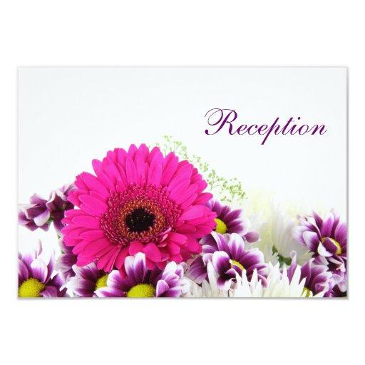 Pretty Pink Gerber Daisy and Purple Wedding Set Card | Zazzle