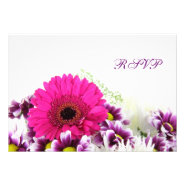 Pretty Pink Gerber Daisy and Purple Wedding Set Invite