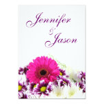 "Pretty Pink Gerber Daisy and Purple Wedding Set 5"" X 7"" Invitation Card"