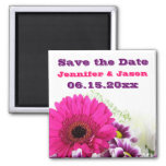 Pretty Pink Gerber Daisy and Purple Wedding Set Refrigerator Magnet