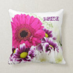 Pretty Pink Gerber Daisy and Purple Wedding Set Throw Pillow
