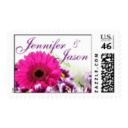 Pretty Pink Gerber Daisy and Purple Wedding Set Stamps