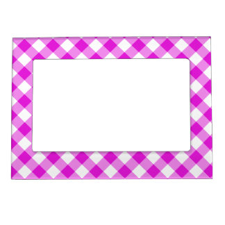 Pretty Pink Gingham Magnetic Picture Frame