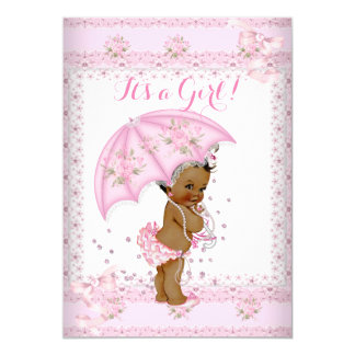 Pretty Pink Girl Baby Shower Floral Umbrella EAA 5x7 Paper Invitation Card