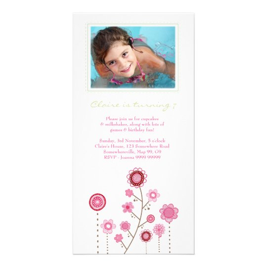 Pretty Pink Girls Birthday Photo Card Template