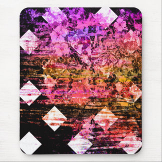 Pretty Pink Girly Grunge Floral Diamond Mouse Pad