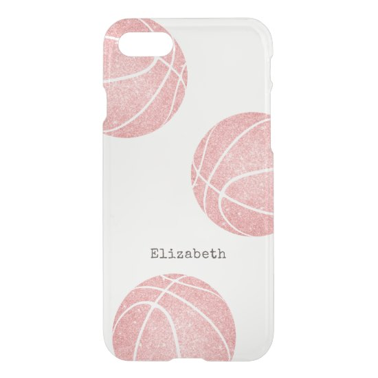 pretty pink girly personalized basketball iPhone SE/8/7 case