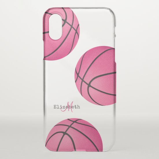 pretty pink girly personalized basketball iPhone x case