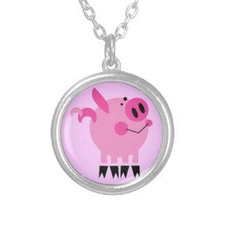 PRETTY PINK GIRLY PIGGY PIG FARM ANIMALS CARTOON V SILVER PLATED NECKLACE