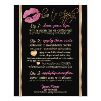 Pretty Pink Glitter Lip Instructions Flyer