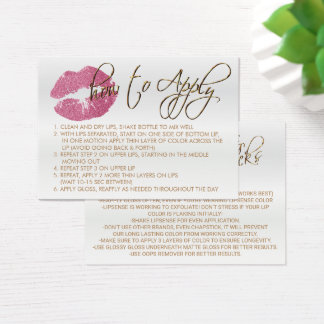 Pretty Pink Glitter Lips 2 - How to Apply Business Card
