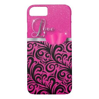Pretty Pink Glitter Love iPhone 7 Case