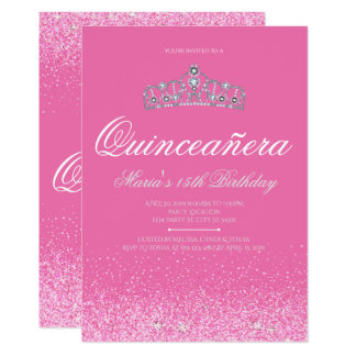 Pretty Pink Glitter, Quinceanera Invitations