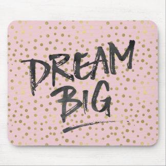 Pretty Pink Gold Confetti Dots Dream Big Mouse Pad