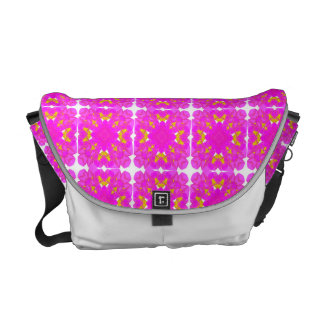 Pretty Pink Gold Floral Repeat Pattern Messenger Bag