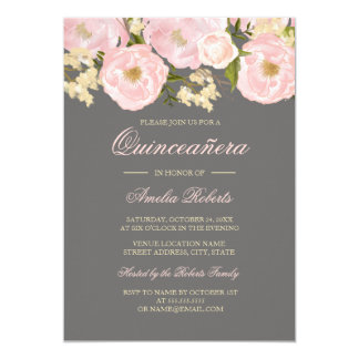 Pretty Pink Gray Floral Quinceanera Invitation