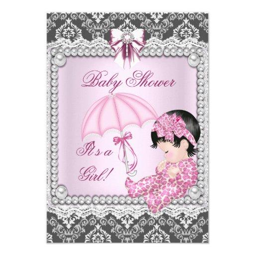 pretty pink gray girl baby shower damask custom invitations zazzle