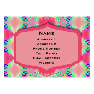 Pretty Pink Green Abstract Design Large Business Cards (Pack Of 100)