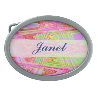 Pretty pink green abstract oval belt buckles