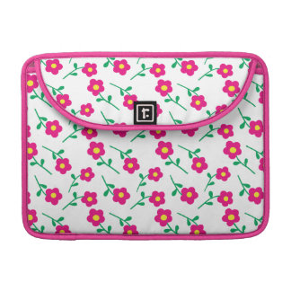 Pretty pink, green and white floral MacBook case