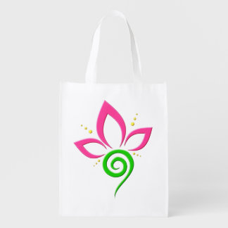 Pretty Pink Green and Yellow Floral Icon Design Reusable Grocery Bag