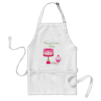 Pretty Pink Green Bakery Business Apron Aprons