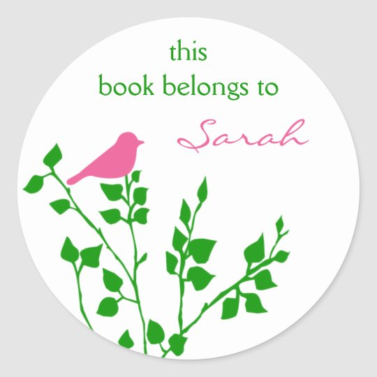 Pretty Pink Green Bird Book Stickers