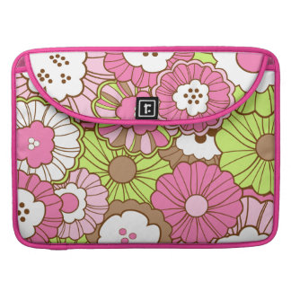Pretty Pink Green Flowers Spring Floral Pattern MacBook Pro Sleeve