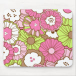 Pretty Pink Green Flowers Spring Floral Pattern Mouse Pad