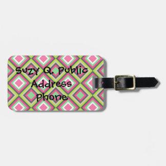 Pretty Pink Green Gray Diamonds Square Pattern Bag Tag