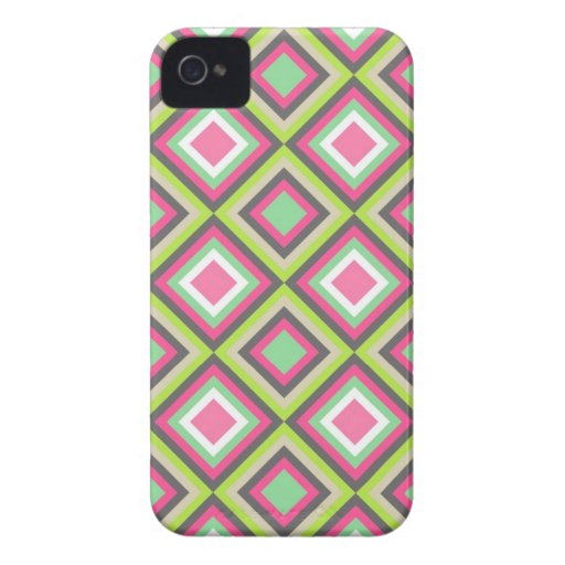 Pretty Pink Green Gray Diamonds Square Pattern iPhone 4 Case-Mate Case