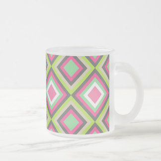 Pretty Pink Green Gray Diamonds Square Pattern Mug