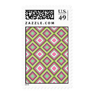 Pretty Pink Green Gray Diamonds Square Pattern Stamps