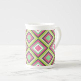 Pretty Pink Green Gray Diamonds Square Pattern Porcelain Mugs
