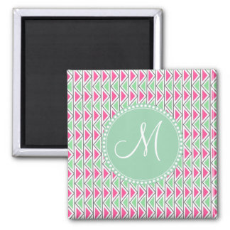 Pretty Pink Green Gray Triangle Tribal Pattern 2 Inch Square Magnet