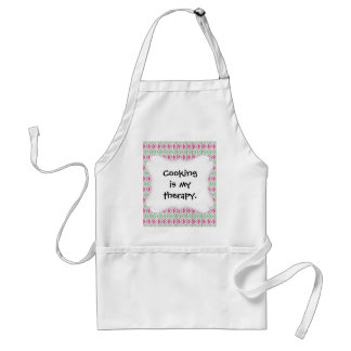 Pretty Pink Green Gray Triangle Tribal Pattern Adult Apron