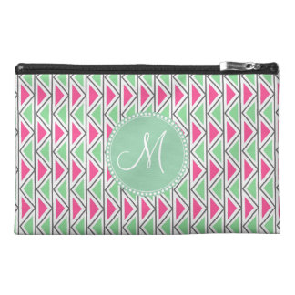 Pretty Pink Green Gray Triangle Tribal Pattern Travel Accessory Bag