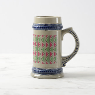 Pretty Pink Green Gray Triangle Tribal Pattern Beer Stein