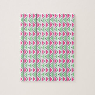 Pretty Pink Green Gray Triangle Tribal Pattern Jigsaw Puzzles