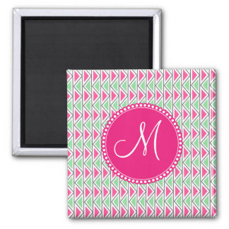 Pretty Pink Green Gray Triangle Tribal Pattern Magnet