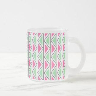 Pretty Pink Green Gray Triangle Tribal Pattern Coffee Mug