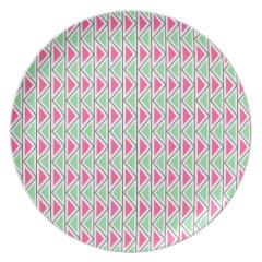 Pretty Pink Green Gray Triangle Tribal Pattern Plates