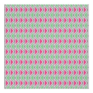 Pretty Pink Green Gray Triangle Tribal Pattern Poster