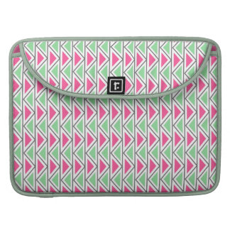 Pretty Pink Green Gray Triangle Tribal Pattern Sleeve For MacBooks