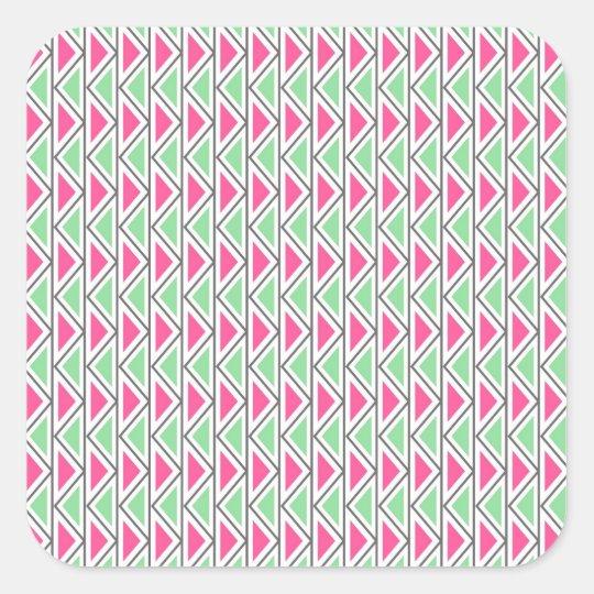 Pretty Pink Green Gray Triangle Tribal Pattern Square Sticker