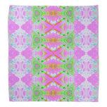Pretty pink green jewel fractal pattern bandana