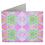 Pretty pink green jewel fractal pattern tyvek wallet